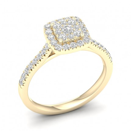 Micro Pave  Setting Round Diamond Cluster Ring