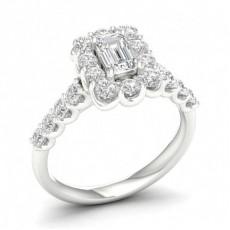 Prong Emerald  Diamond Halo Engagment Ring
