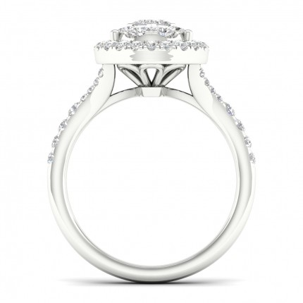 Micro Pave  Setting Princess Diamond Cluster Ring
