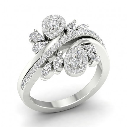 Prong Pear  Diamond Fashion Ring