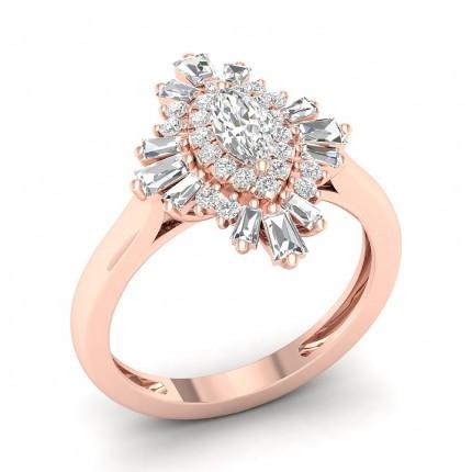 Prong Marquise  Diamond Halo Ring