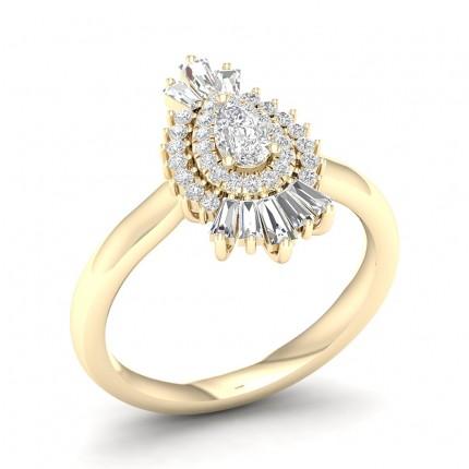 Prong Pear  Diamond Halo Ring