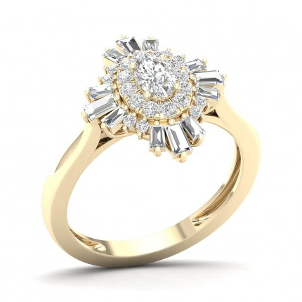 Prong Oval  Diamond Halo Ring