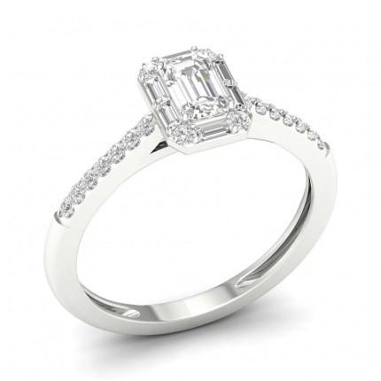 Micro Prong  Setting Emerald Diamond Fashion Ring