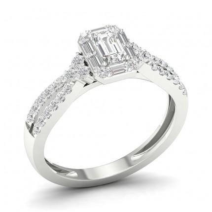 Prong Emerald  Diamond Halo Ring
