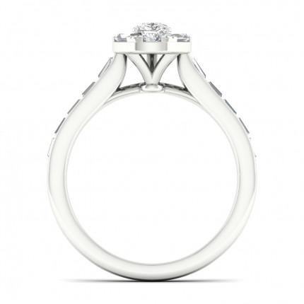 Micro Pave  Setting Pear Diamond Halo Ring