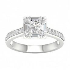 Micro Pave  Setting Round Diamond Halo Ring