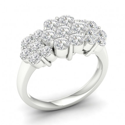 Prong Round  Diamond Cluster Ring