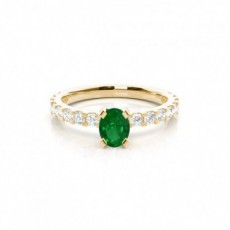 Prong Setting Oval Emerald Side Stone Ring