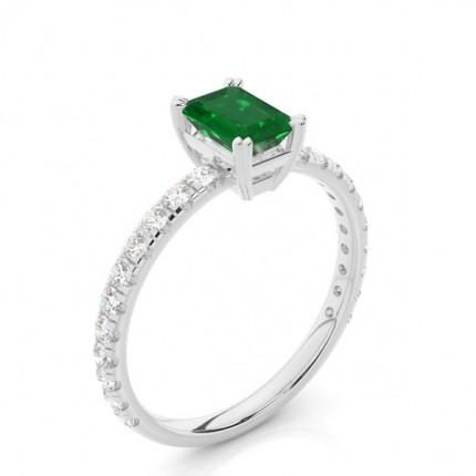 Prong Setting Emerald Engagement Ring