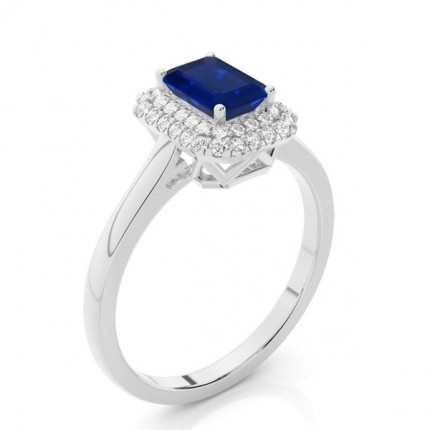 Prong Setting Emerald Blue Sapphire Halo Engagement Ring