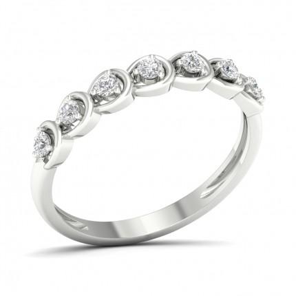 Pave Setting Round Diamond Half Eternity Ring