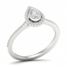 Micro Pave Setting Halo Diamond Engagement Ring