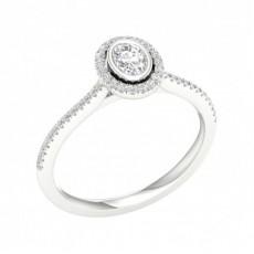 Bezel Setting Halo Diamond Engagement Ring