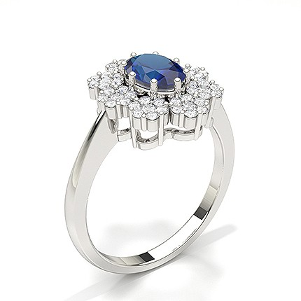 Oval Halo Blue Sapphire Engagement Ring