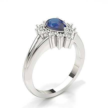 Pear Halo Blue Sapphire Engagement Ring