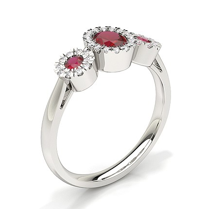 Bezel Setting Ruby Three Stone Ring