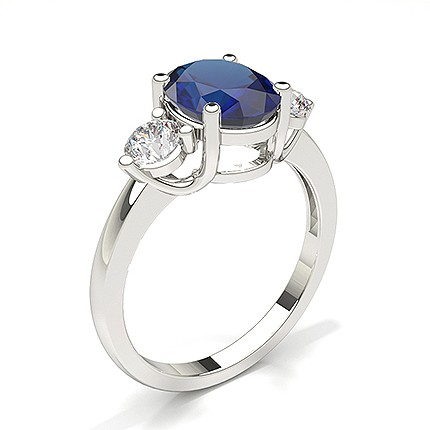 Prong Setting Blue Sapphire Three Stone Ring