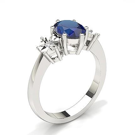 Prong Setting Blue Sapphire Three Stone Ring