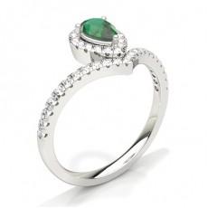 Pear Emerald Engagement Rings