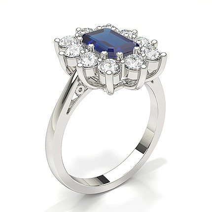 Emerald Halo Blue Sapphire Engagement Ring