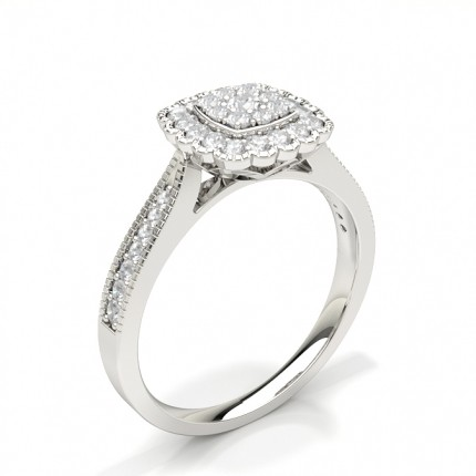 Shared Prong Setting Round Diamond Cluster Ring