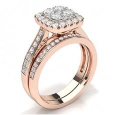 Rose Gold Bridal Set Engagement Rings