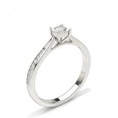 Illusion Plate Round Side Stone Diamond Engagement Ring