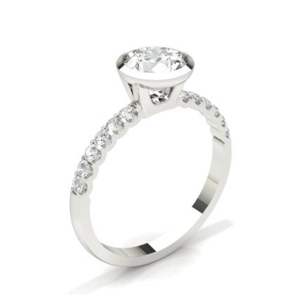 Bezel Set Round Side Stone Diamond Engagement Ring