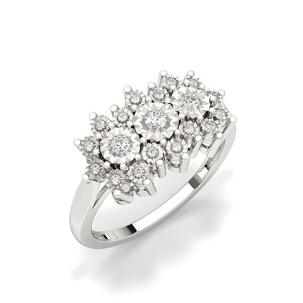 Faunk Prong Setting Round Diamond Fashion Ring