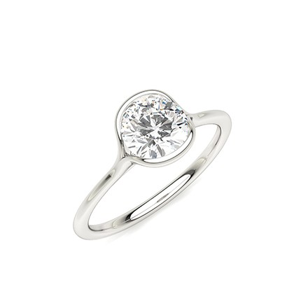 Semi Bezel Setting Solitaire Engagement Ring