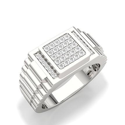 Shared Prong Setting Round Diamond Mens Ring