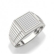 Micro Prong Setting Round Diamond Mens Ring