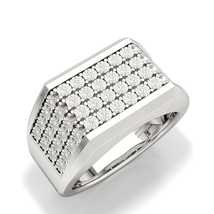 Illusion Prong Setting Round Diamond Mens Ring