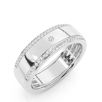 Micro Prong and Bezel Set Diamond Wedding Band