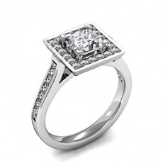 Princess White Gold Halo Diamond Engagement Rings