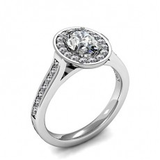 Oval Platinum  Halo Engagement Rings