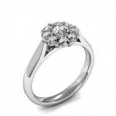Prong Setting Oval & Round Diamond Cluster Ring