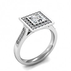 Princess White Gold Halo Engagement Rings