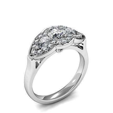 Prong Setting Round Diamond Three Stone Ring