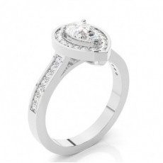 Pear Platinum  Halo Engagement Rings