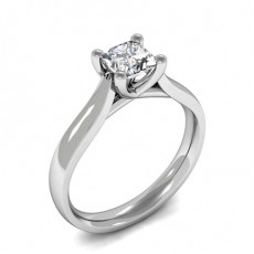 4 Prong Setting Princess Diamond Plain Engagement Ring
