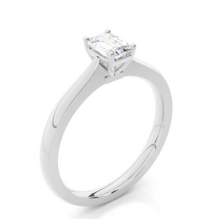 4 Prong Setting Emerald Diamond Plain Engagement Ring