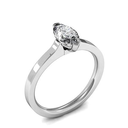 2 Prong Setting Marquise Diamond Plain Engagement Ring