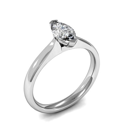 2 Prong Setting Marquise Diamond Plain Engagement Ring