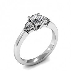 Mixed Shapes Platinum  Trilogy Engagement Rings