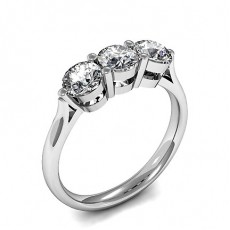 Round Platinum Trilogy Engagement Rings