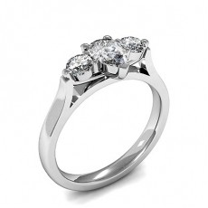 3 Prong Setting Plain Three Stone Ring