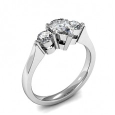 Mixed Shapes White Gold  Trilogy Engagement Rings