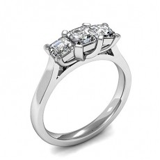 Asscher White Gold Trilogy Engagement Rings